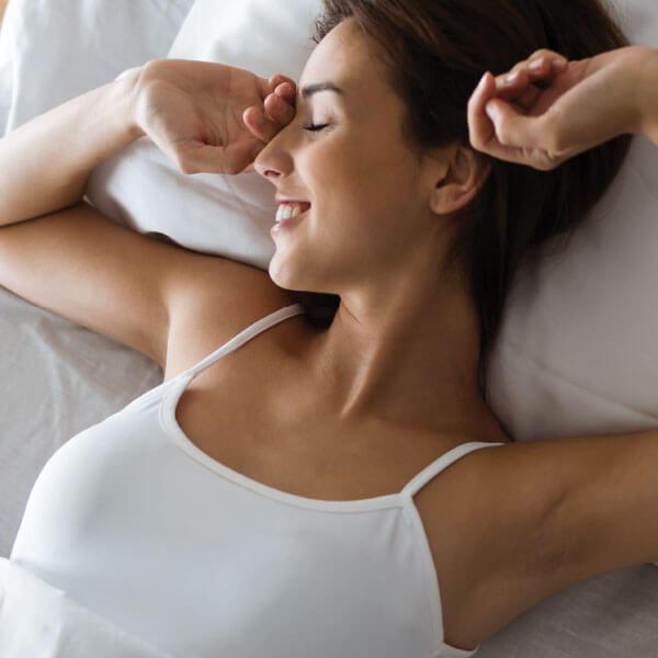 Woman getting a good night sleep